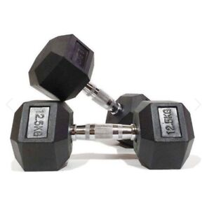 Pair of 12.5kg hex dumbbells