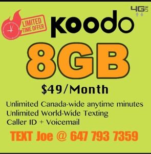8 GB LTE DATA + Unlimited NATIONWIDE TALK + TEXT FOR $49/month