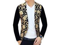 Men's Gold Floral slim fit 1 button Jacket (Medium)