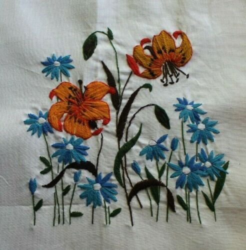 Orange Lilies Blue Daisies Flower Bouquet Crewel Embroidery Completed Finished