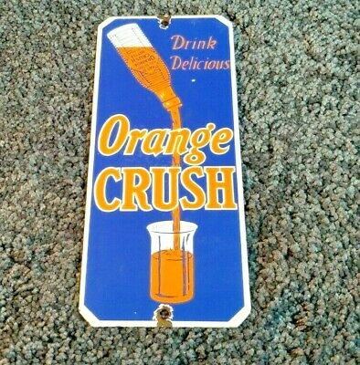 VINTAGE DRINK ORANGE CRUSH PORCELAIN GLASS BOTTLE GAS SODA DOOR PUSH SIGN