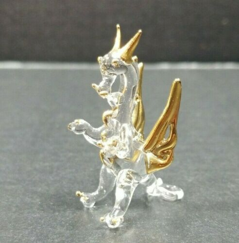 """Glass Dragon Figurine Winged Fantasy Gold Wings Claws Horns Miniature 1 3/4"""""""
