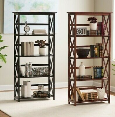 5 Shelf Bookcase Bookshelf Tall Wide Display Farmhouse Black Brown Wood White