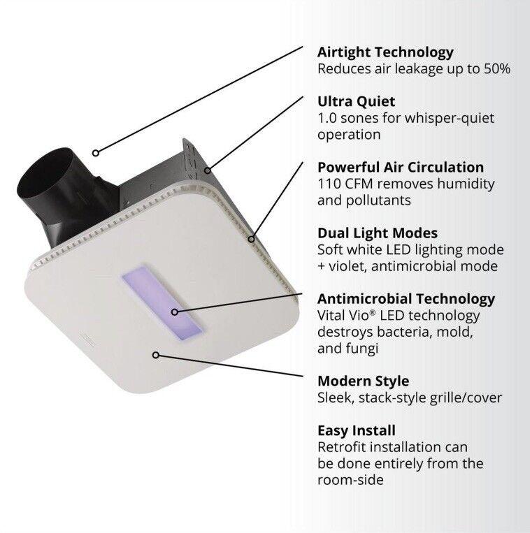 Surface Shield Vital Vio Powered Exhaust Vent Fan w/LED White Light