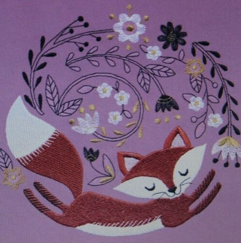 Whimsical Woodland Fox Bathroom SET OF 2 HAND TOWELS EMBROIDERED