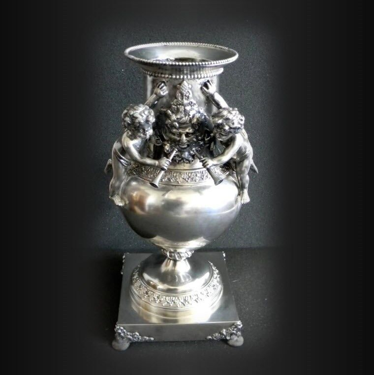Vintage silver plate vase with cherubs and figure