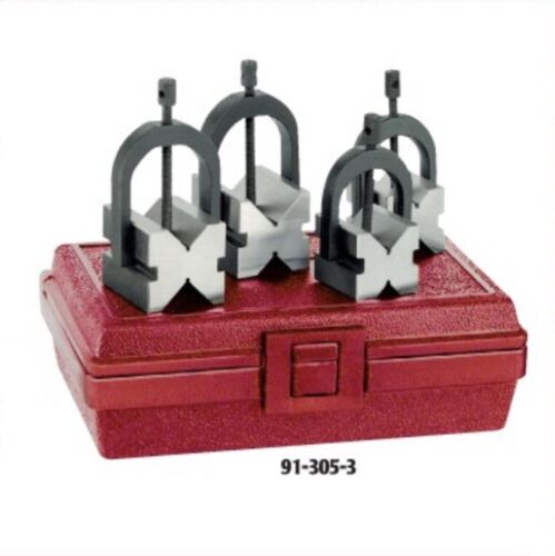 Matched V-Blocks Set with Clamps in Fitted Case SPI 91-305-3
