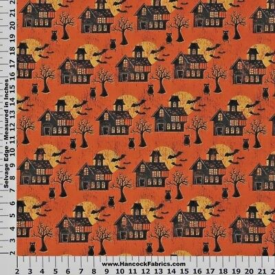 CREEPY SCENES HAUNTED HOUSE BLACK CAT PRINT 100% COTTON FABRIC BY THE 1/2 YARD - Halloween 1 Scenes