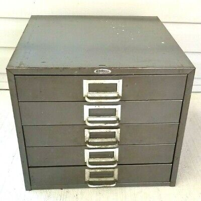 Vtg 5 Drawer Metal Cabinet 15 W By 12 By 16 D Cole Steel Mfg Usa Industrial