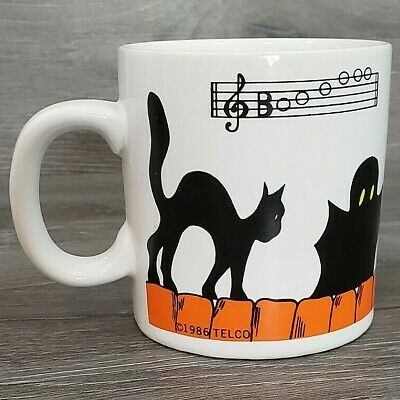 Vintage 1986 Telco Halloween Black Cat Pumpkin 12 Oz Coffee Mug Cup