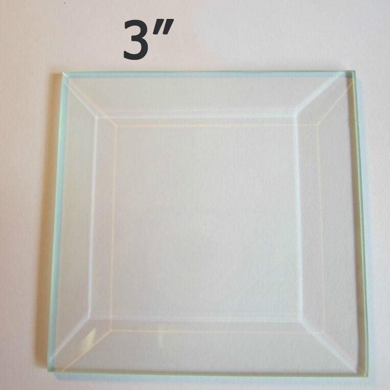"Bevel (4 pack) 3"" Square Clear Memory Glass Beveled Top-Flat Back for Solder art"