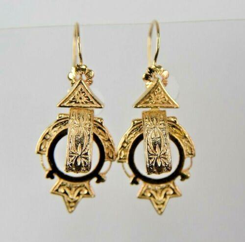 Vintage 14 Karat SOLID yellow GOLD  Dangle Earrings