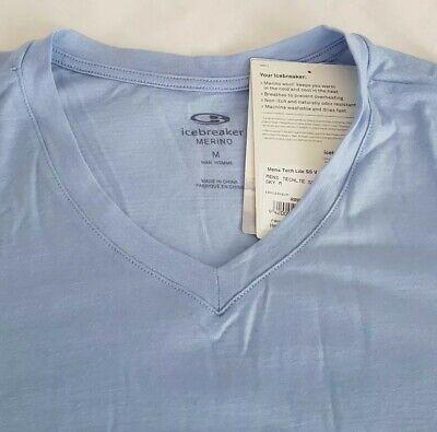 MEN'S ICEBREAKER TECH LITE MERINO V Neck T-Shirt in Sky Blue. Medium RRP £65