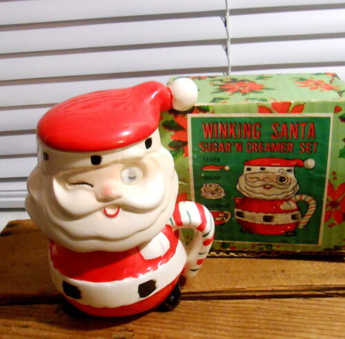 Vintage Japan Santa - Winking Eye Creamer and Sugar Set in Box