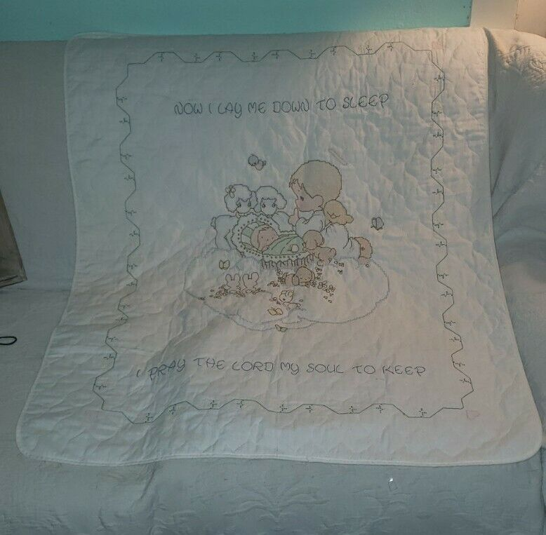 1983 Precious Moments Printed Cross Stitch Baby's Arrival Quilt