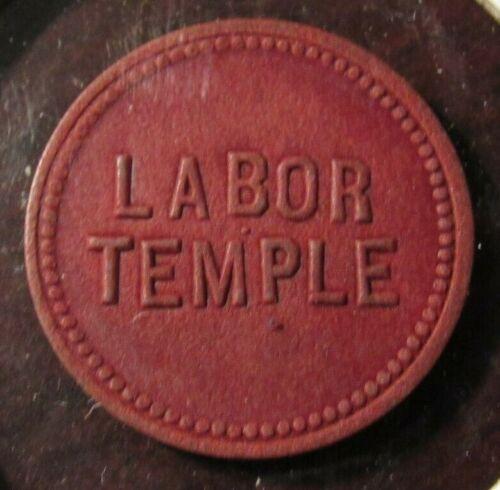 Very Old Labor Temple Lincoln, NE 2-1/2c Red Fibre Trade Token - Nebraska Nebr.