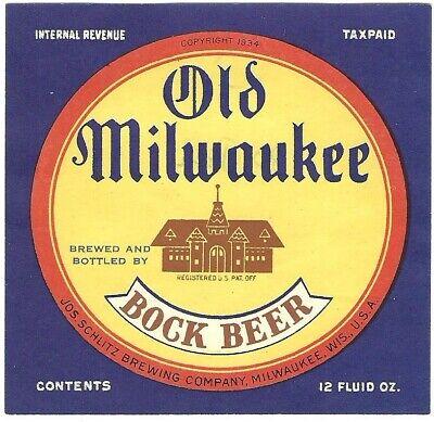 Old Milwaukee BOCK Beer label, IRTP, Wisconsin, 1930s-40s, 12 oz.