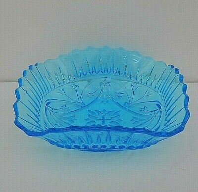 Vintage Sowerby blue pressed glass square bowl - #2473 - 17 cms (6.75