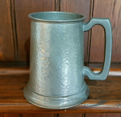 Very Nice Vintage 'Manor' Hammered Pewter Finish Glass Bottomed Pint Tankard