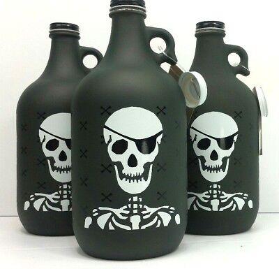 Big Booty Pirate Skull Glass Beer Growler 64oz Freaker USA Char Gray Piggy Bank