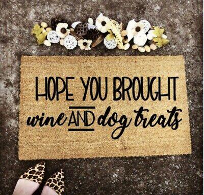 Coir Door Mat Entry Doormat Custom Doormat Wine and Dog Treats Pet Doormat Gift ()