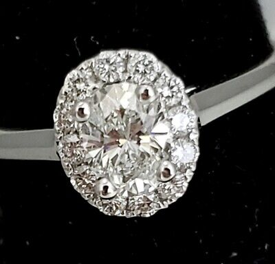 Natural OVAL Diamond G-VS1 GIA Halo 14k W Gold Engagement Ring .72 ctw Sz 6.5  4