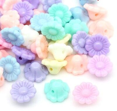 50 Pastel Flower Beads Shank Buttons Acrylic 12mm Mixed Colours J28569V