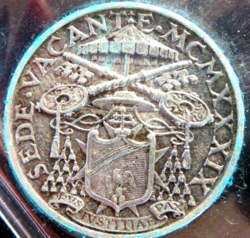 1939 VATICAN Italy Rare  5 Lire Sede Vacante Coin