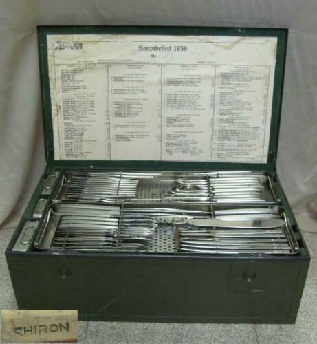 WWII 1939 GERMAN LARGE MEDICAL SURGICAL TOOLS SET CHIRON HAUPTBESTECK XTR RARE