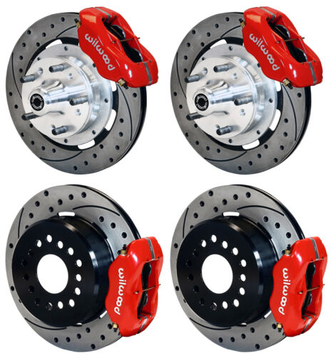 "Wilwood Disc Brake Kit,64-74 Gm,12.19"" Drilled Rotors,4 Piston Red Calipers"