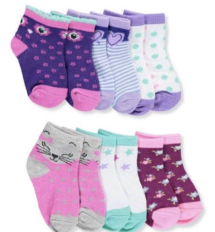 NWT 6 PAIRS OF BABY GIRL  INFANT GIRL SOCKS SIZE 0-12 MONTHS