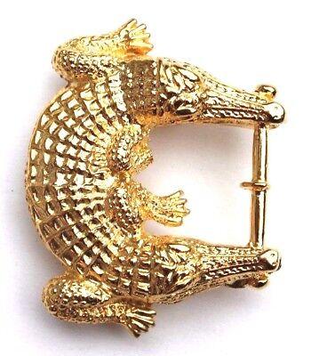 GOLD Double Head Crocodile Alligator Hollywood Regency Glam Belt Buckle Supply