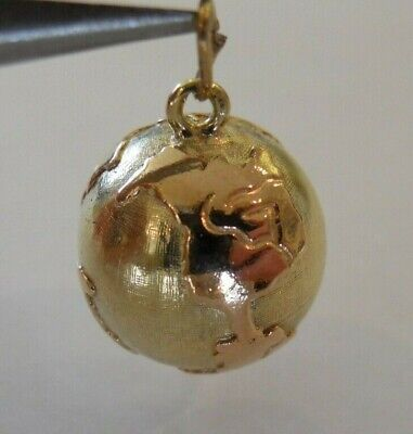 Vintage 14k Yellow Gold 3D PLANET EARTH WORLD GLOBE Bracelet Charm 4.5 G #19084H Gold 3d Globe Charm