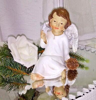 Engel Christmas Weihnachten Deko Figur shabby Vintage Landhaus creme 11cmx11cm