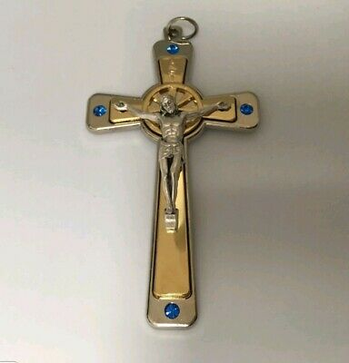 First Holy Communion Gift Set For boy blue crystal swarovski crusafix cross