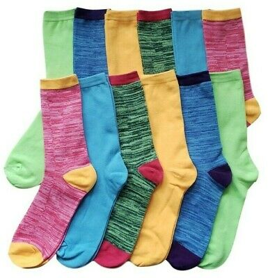 12 Pairs Women's Marled Socks Cotton Crew Ladies Assorted Colors Size -