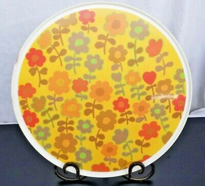 Lazy Susan Floral Vintage Dining table Accessory Retro Yellow Orange and Green