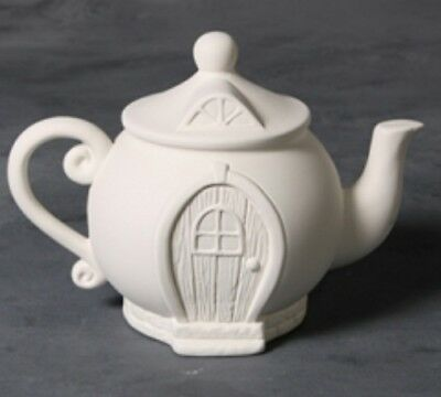 Teapot Fairy House Unpainted  Ceramic Bisque Ready To Paint