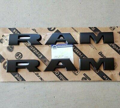 """NEW 2019-2021 Dodge """"RAM"""" 2500-3500 Heavy Duty Flat BLACK Door Nameplates, OEM"""