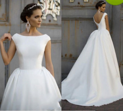 Simple Cheap Wedding Dresses for Girls Bridal Gowns Cap Sleeves Satin Backless - Cheap Princess Dresses For Girls
