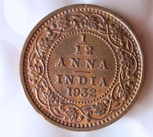 1932 INDIA 1/12 ANNA - High Quality Collectible  -FREE SHIPPING - India Bin #A