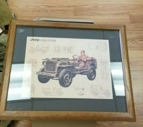 Vintage Willy Jeep Military   original  print in frame