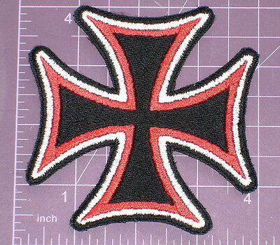 Medium Tri-Color Maltese Cross Embroidered Patch 4