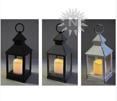 XL LATERNE LED Farbwahl weiss grau schwarz batteriebetrieben Kerze LEDs Lampe