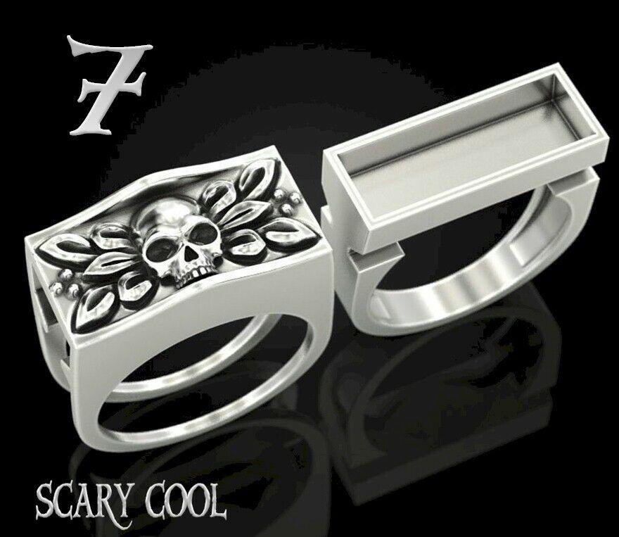 New Skull Secret Compartment Head Silver Mens Gothic Biker Ring