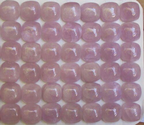 Natural Pink Kunzite Cabochon 8mm Square Cushion, 2 Gemstones Brazil