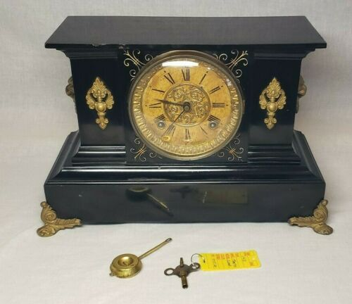 BEAUTIFUL Antique Ansonia Iron Victorian Mantle Shelf Clock 8 day & Key ! NICE !