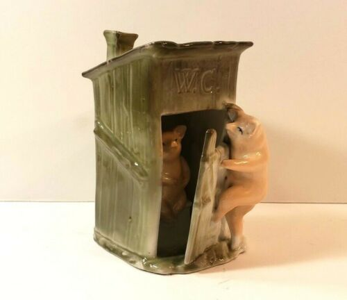 Antique German Porcelain Pink Pigs In Outhouse