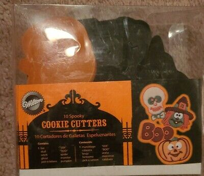 Wilton Halloween Orange and Black Stamp Cookie Cutters (10 Shapes) - NEW!