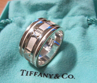Tiffany & Co Atlas Numeric Wide Band Ring Numerals Size 11.5 Sterling Silver 925
